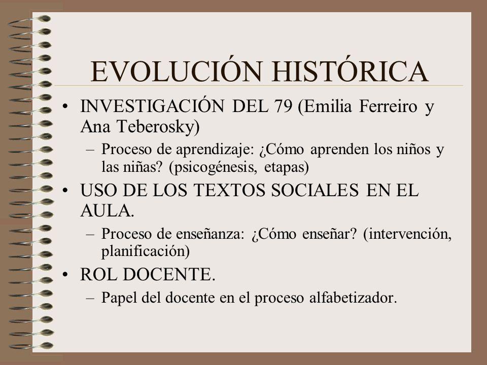 EVOLUCIÓN HISTÓRICA INVESTIGACIÓN DEL 79 (Emilia Ferreiro y Ana Teberosky)