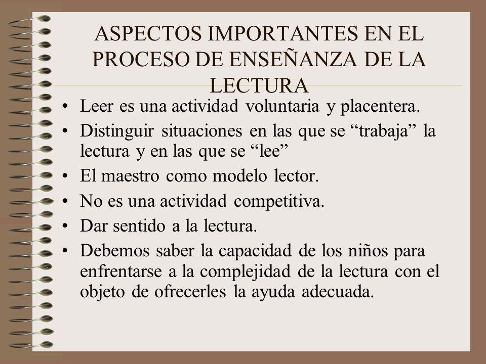 ASPECTOS IMPORTANTES EN EL PROCESO DE ENSEÑANZA DE LA LECTURA