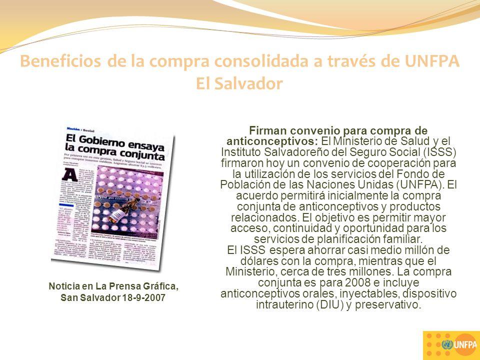 Beneficios de la compra consolidada a través de UNFPA El Salvador