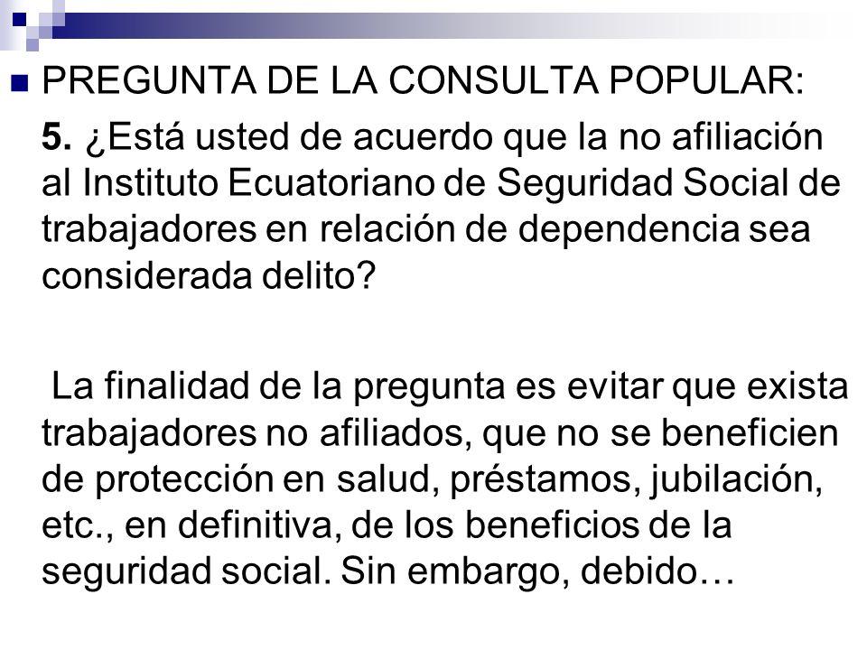 PREGUNTA DE LA CONSULTA POPULAR: