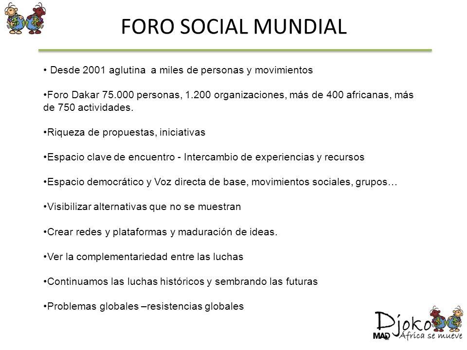 FORO SOCIAL MUNDIALDesde 2001 aglutina a miles de personas y movimientos.