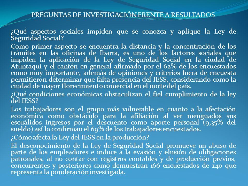 PREGUNTAS DE INVESTIGACIÓN FRENTE A RESULTADOS