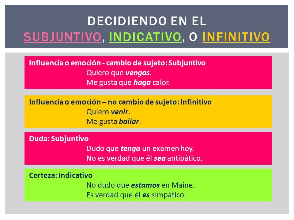 DECIDIENDO EN EL Subjuntivo, Indicativo, O Infinitivo