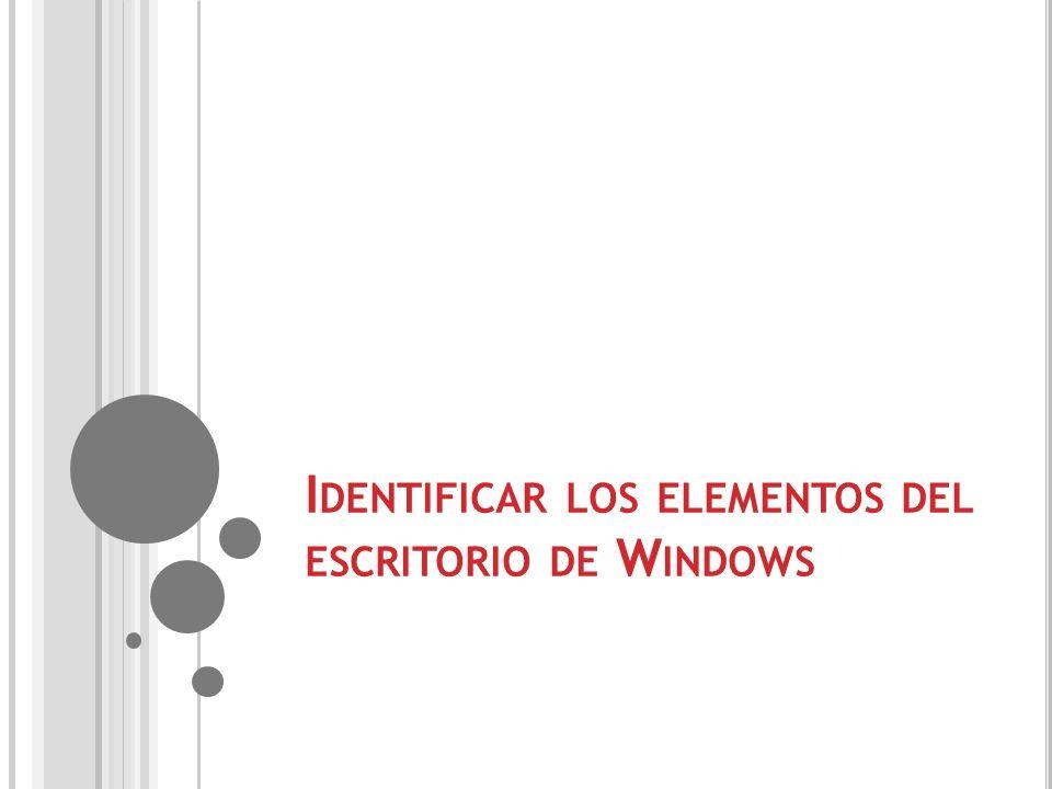 Identificar los elementos del escritorio de Windows