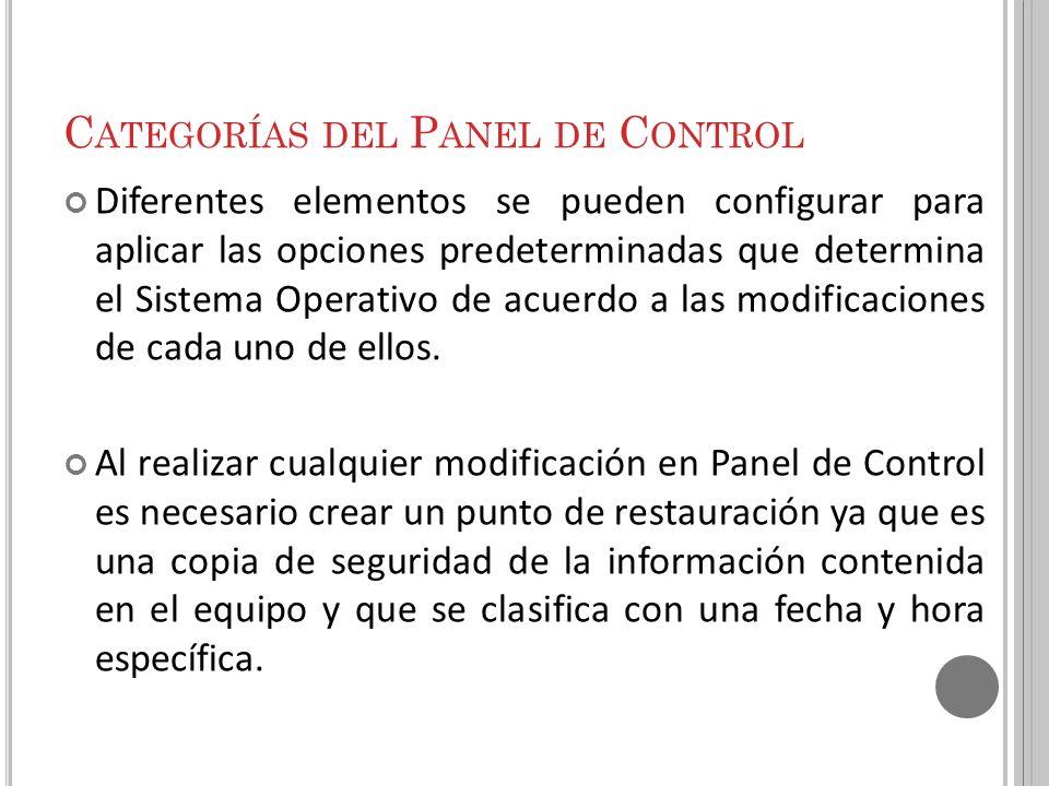 Categorías del Panel de Control