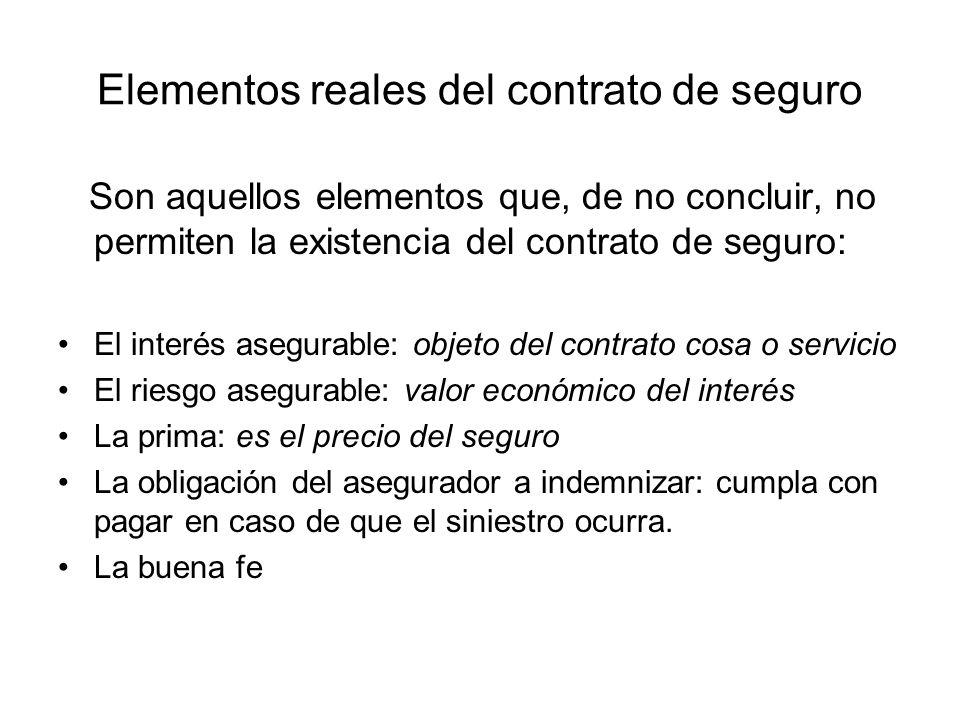 Elementos reales del contrato de seguro