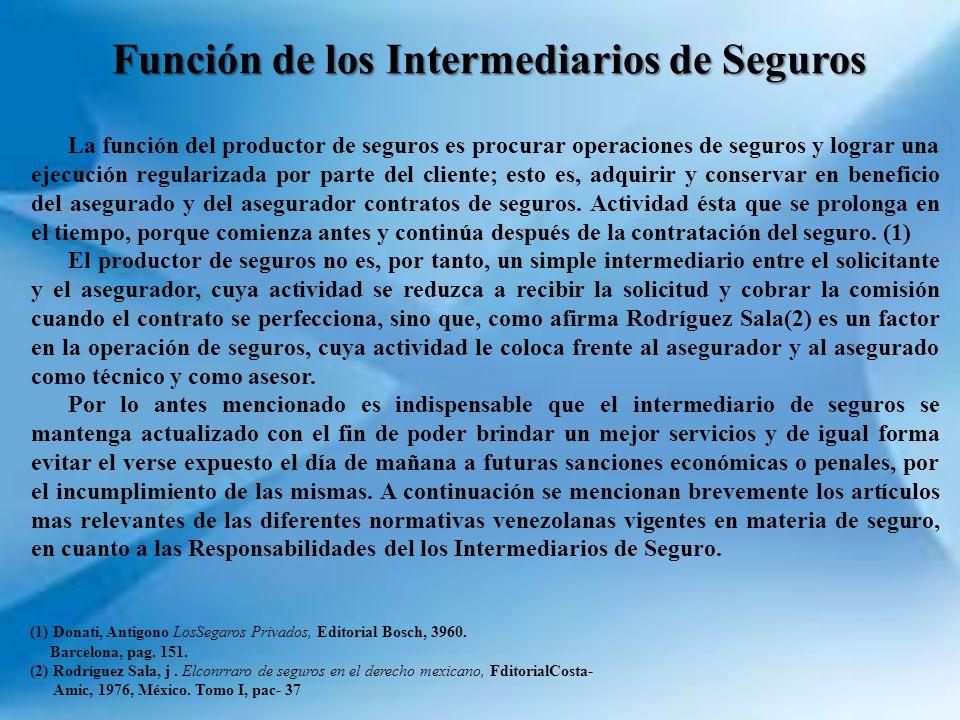 Función de los Intermediarios de Seguros