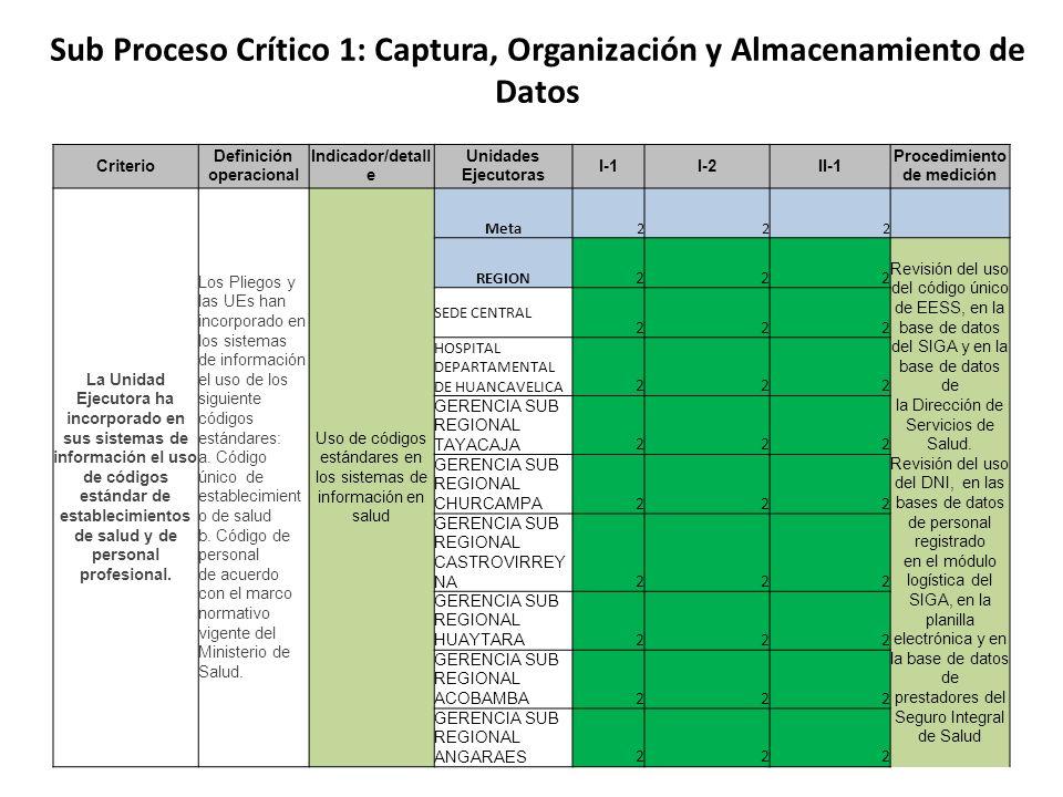 Sub Proceso Crítico 1: Captura, Organización y Almacenamiento de Datos