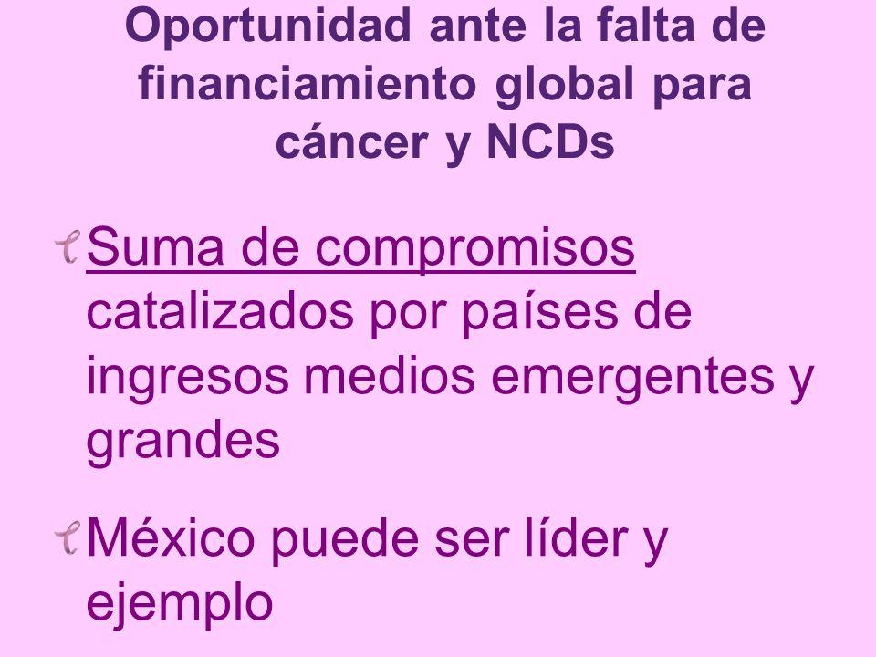 Oportunidad ante la falta de financiamiento global para cáncer y NCDs