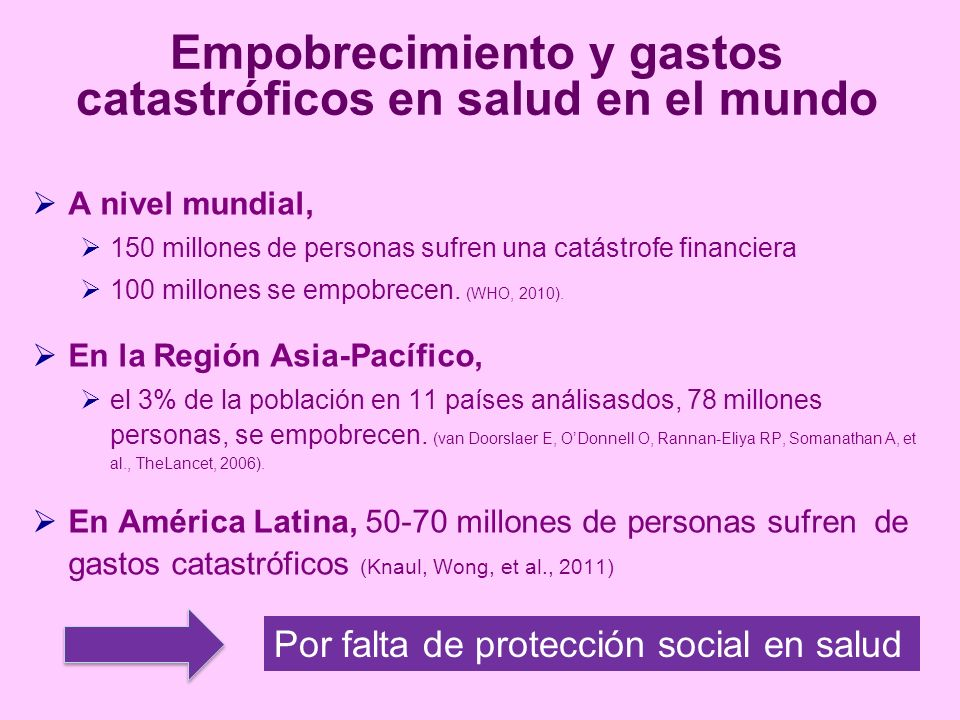 Empobrecimiento y gastos catastróficos en salud en el mundo