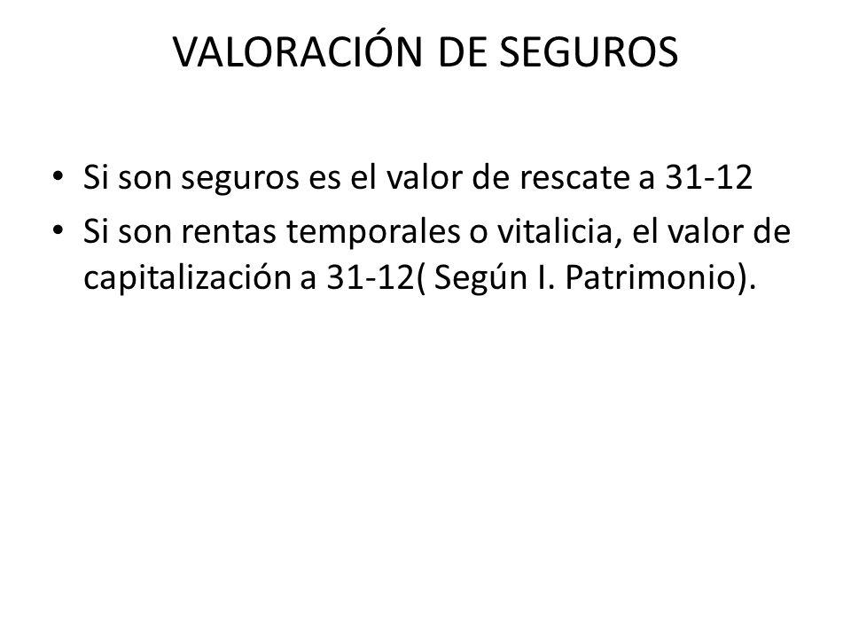 VALORACIÓN DE SEGUROS Si son seguros es el valor de rescate a 31-12