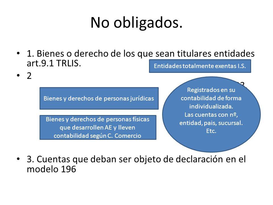 No obligados.1. Bienes o derecho de los que sean titulares entidades art.9.1 TRLIS. 2.2. 2 33.