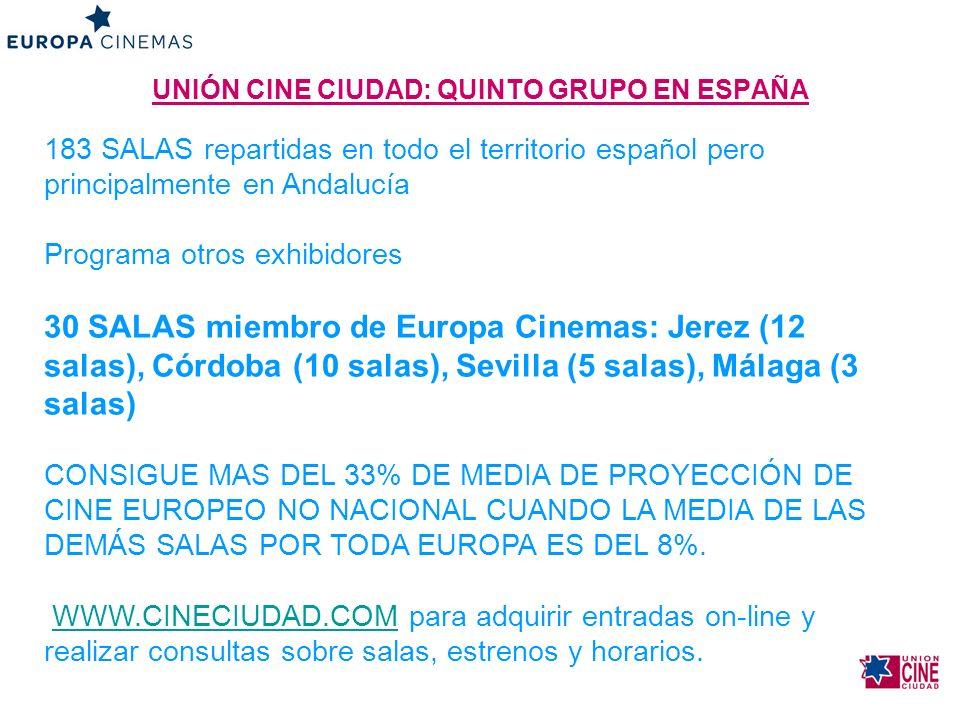 UNIÓN CINE CIUDAD: QUINTO GRUPO EN ESPAÑA