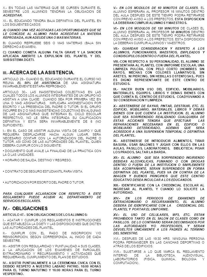 IV.- OBLIGACIONES III.- ACERCA DE LA ASISTENCIA. 3