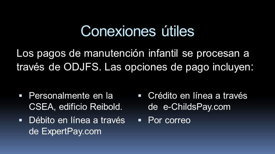 Conexiones útiles Los pagos de manutención infantil se procesan a través de ODJFS. Las opciones de pago incluyen: