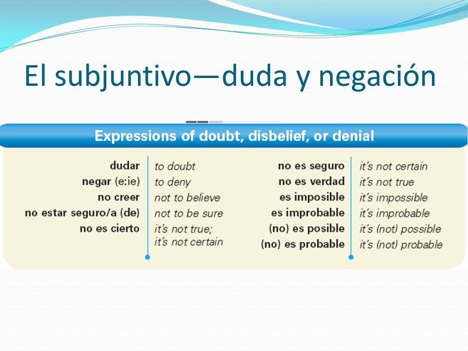 El subjuntivo—duda y negación
