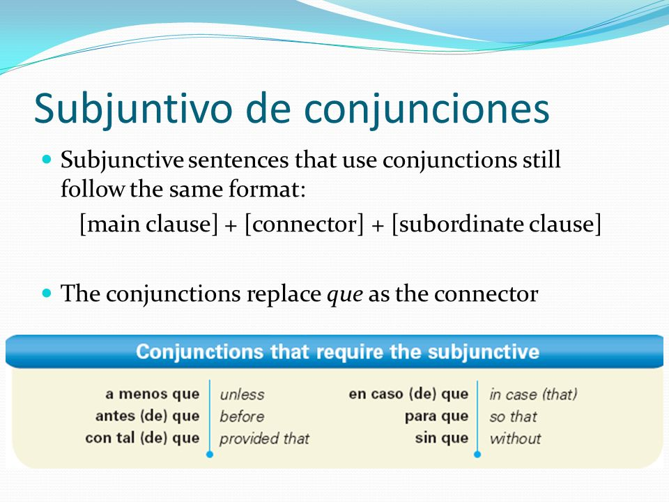 Subjuntivo de conjunciones