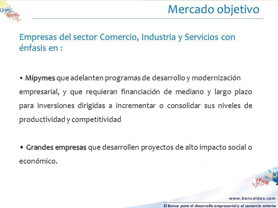 Mercado objetivo Empresas del sector Comercio, Industria y Servicios con énfasis en :