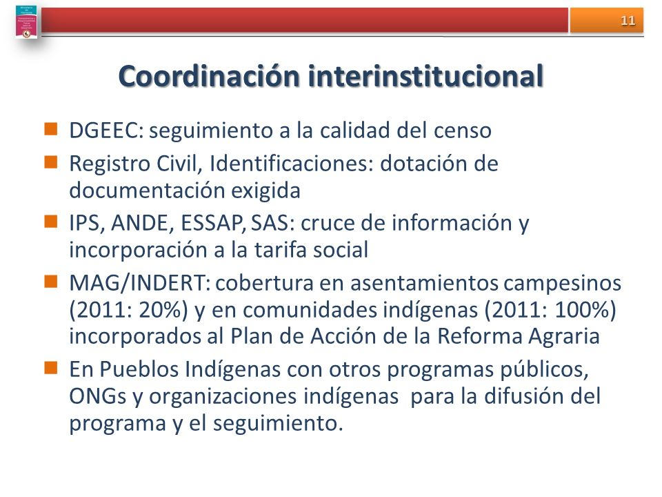 Coordinación interinstitucional