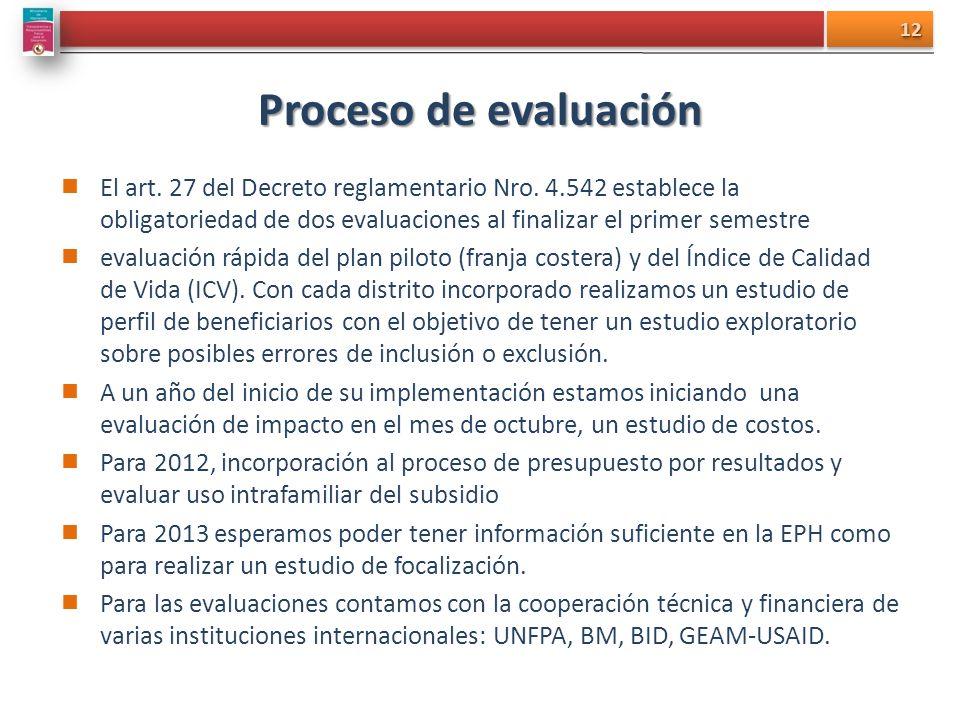 Proceso de evaluación El art. 27 del Decreto reglamentario Nro. 4.542 establece la obligatoriedad de dos evaluaciones al finalizar el primer semestre.