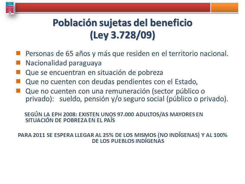Población sujetas del beneficio (Ley 3.728/09)