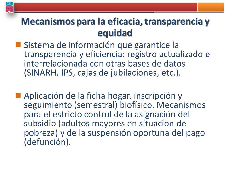 Mecanismos para la eficacia, transparencia y equidad