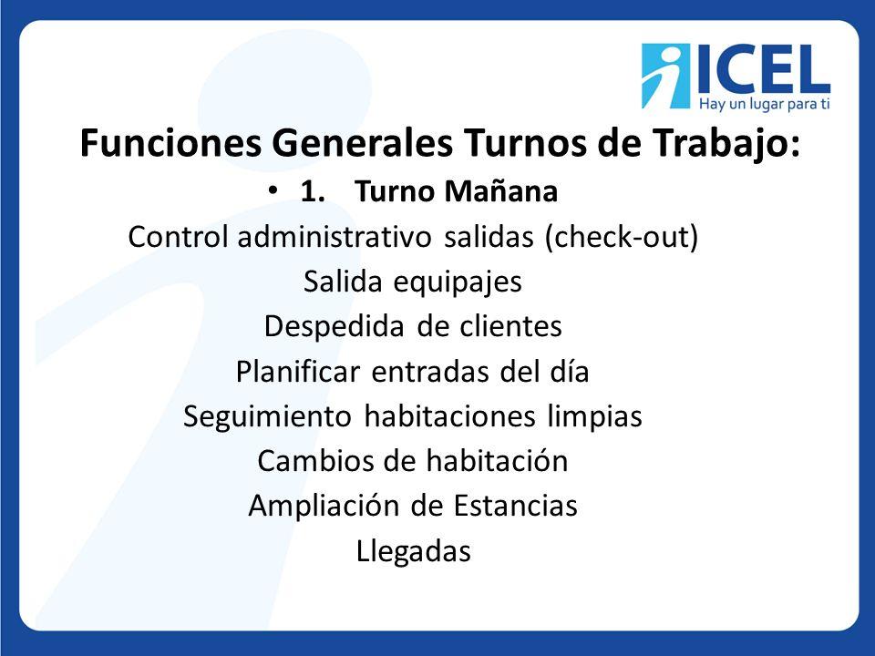 Funciones Generales Turnos de Trabajo:
