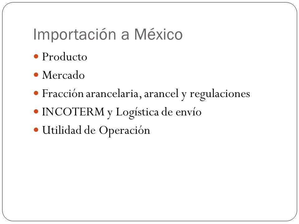 Importación a México Producto Mercado