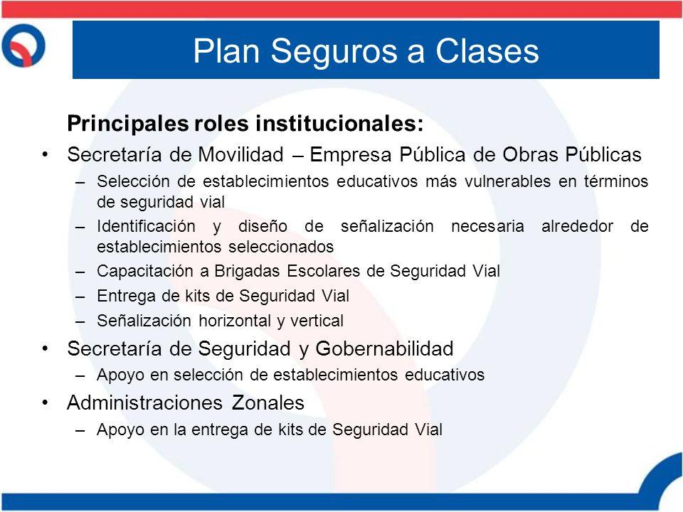 Plan Seguros a Clases Principales roles institucionales: