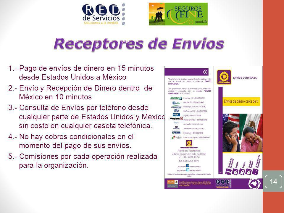 Receptores de Envios 1.- Pago de envíos de dinero en 15 minutos desde Estados Unidos a México.