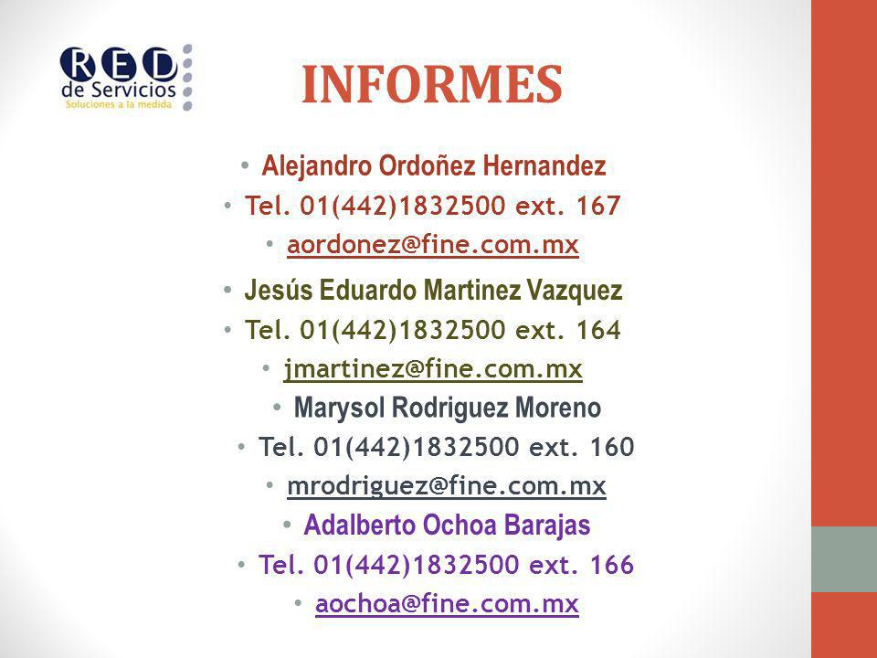 INFORMES Alejandro Ordoñez Hernandez Jesús Eduardo Martinez Vazquez