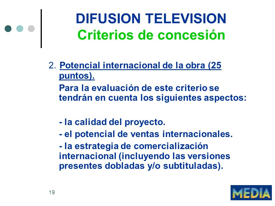 DIFUSION TELEVISION Criterios de concesión