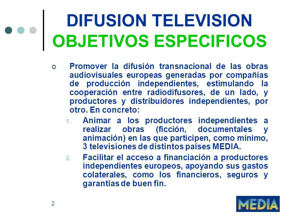 DIFUSION TELEVISION OBJETIVOS ESPECIFICOS