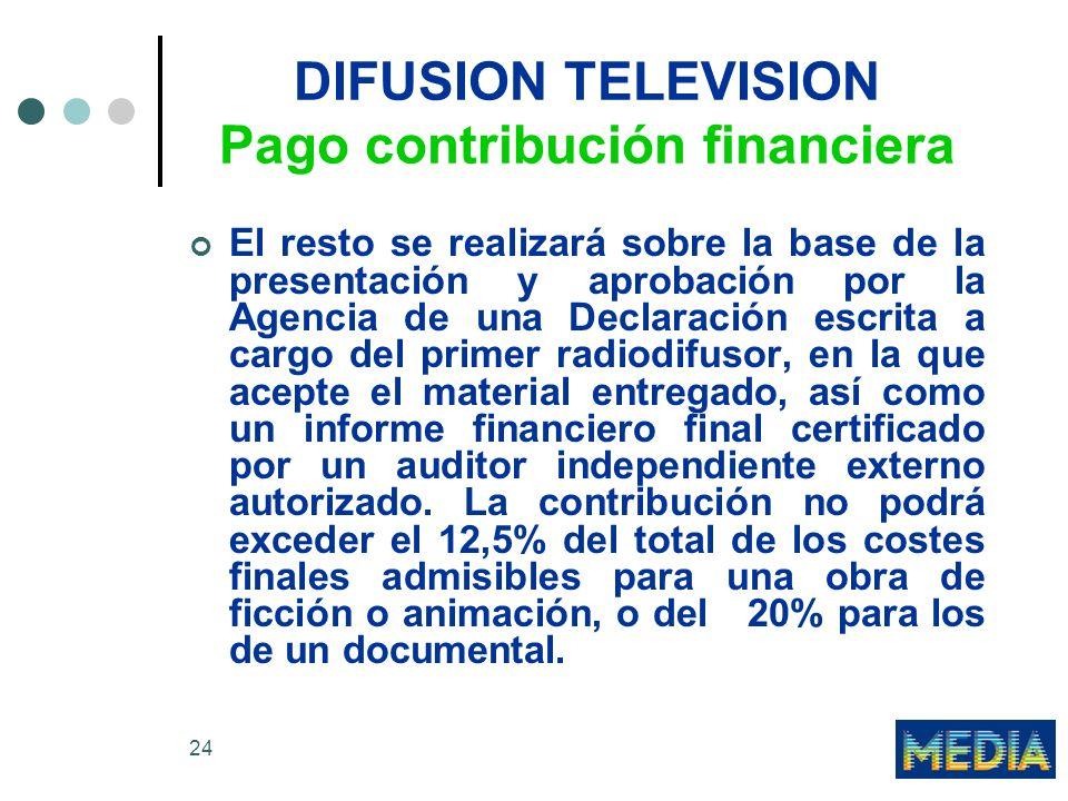 DIFUSION TELEVISION Pago contribución financiera