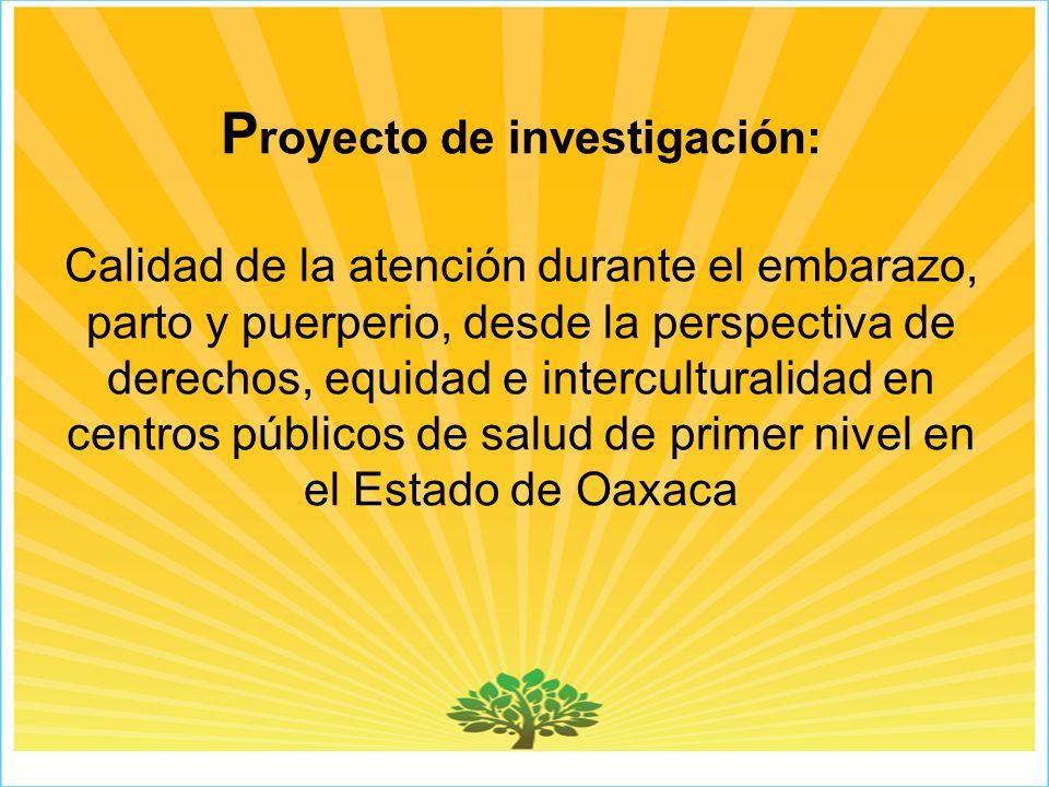Proyecto de investigación: Calidad de la atención durante el embarazo, parto y puerperio, desde la perspectiva de derechos, equidad e interculturalidad en centros públicos de salud de primer nivel en el Estado de Oaxaca