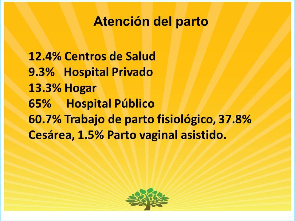 Atención del parto 12.4% Centros de Salud. 9.3% Hospital Privado. 13.3% Hogar. 65% Hospital Público.