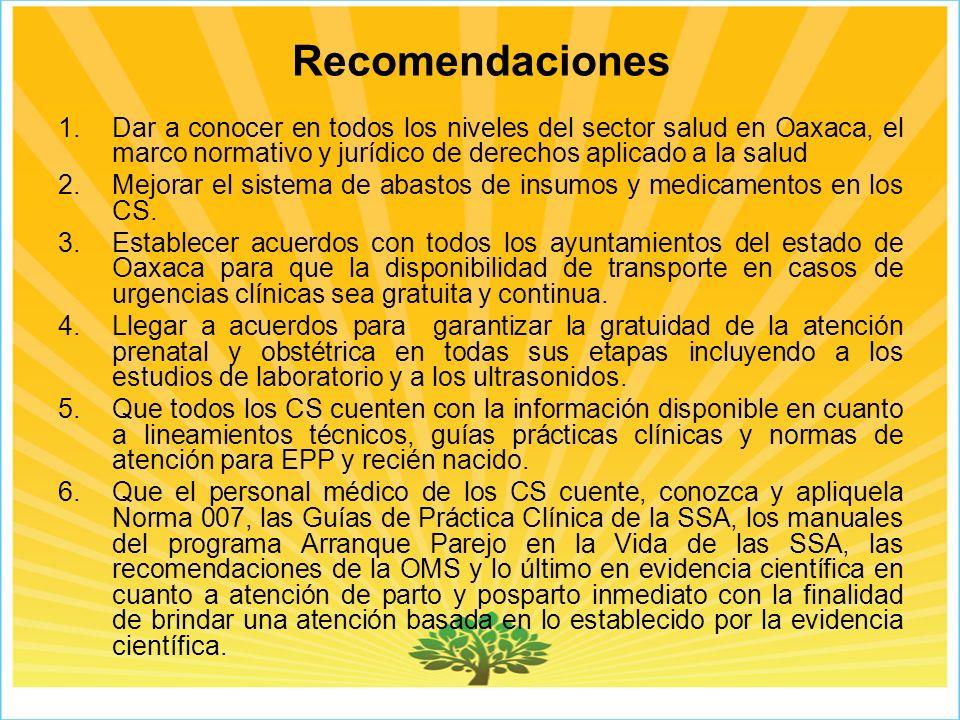 Recomendaciones Dar a conocer en todos los niveles del sector salud en Oaxaca, el marco normativo y jurídico de derechos aplicado a la salud.