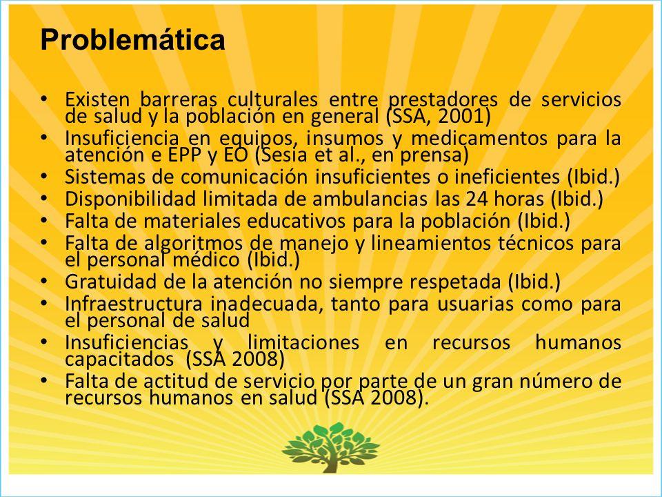 Problemática Existen barreras culturales entre prestadores de servicios de salud y la población en general (SSA, 2001)
