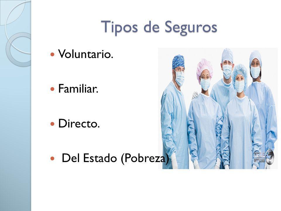 Tipos de Seguros Voluntario. Familiar. Directo. Del Estado (Pobreza)