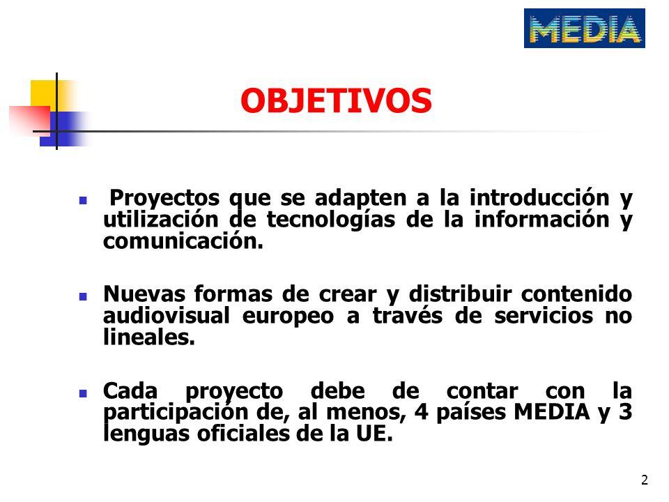 OBJETIVOSProyectos que se adapten a la introducción y utilización de tecnologías de la información y comunicación.