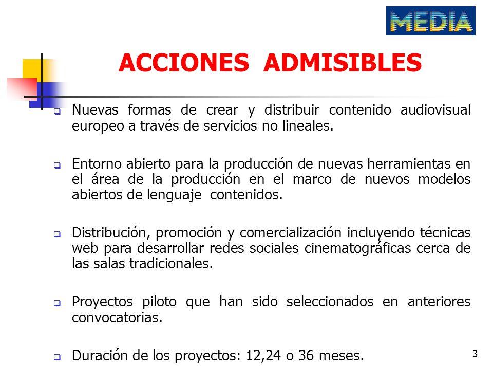 ACCIONES ADMISIBLESNuevas formas de crear y distribuir contenido audiovisual europeo a través de servicios no lineales.