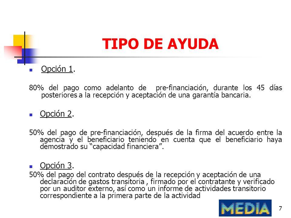 TIPO DE AYUDA Opción 1. Opción 2. Opción 3.