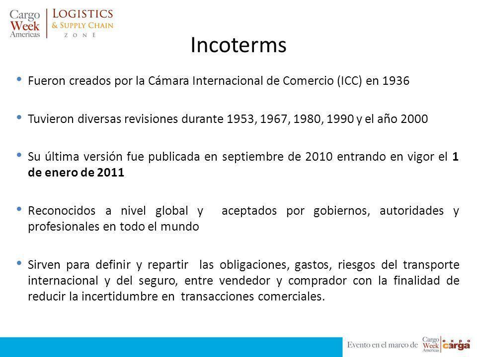 Incoterms Fueron creados por la Cámara Internacional de Comercio (ICC) en 1936.