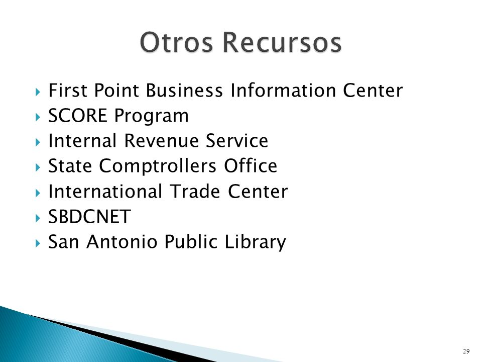 Otros Recursos First Point Business Information Center SCORE Program