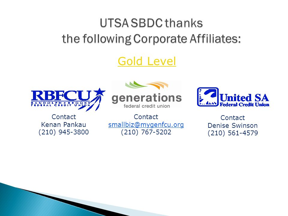 UTSA SBDC thanks the following Corporate Affiliates: