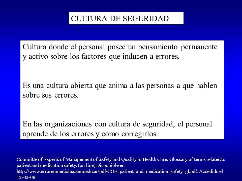 CULTURA DE SEGURIDAD Cultura donde el personal posee un pensamiento permanente y activo sobre los factores que inducen a errores.