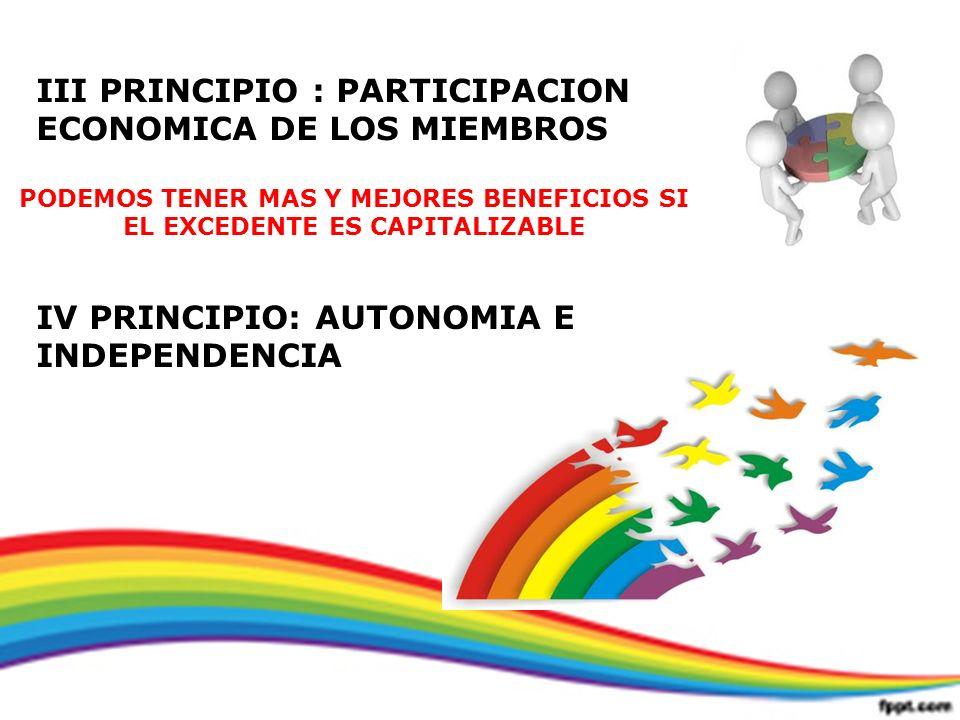 III PRINCIPIO : PARTICIPACION ECONOMICA DE LOS MIEMBROS