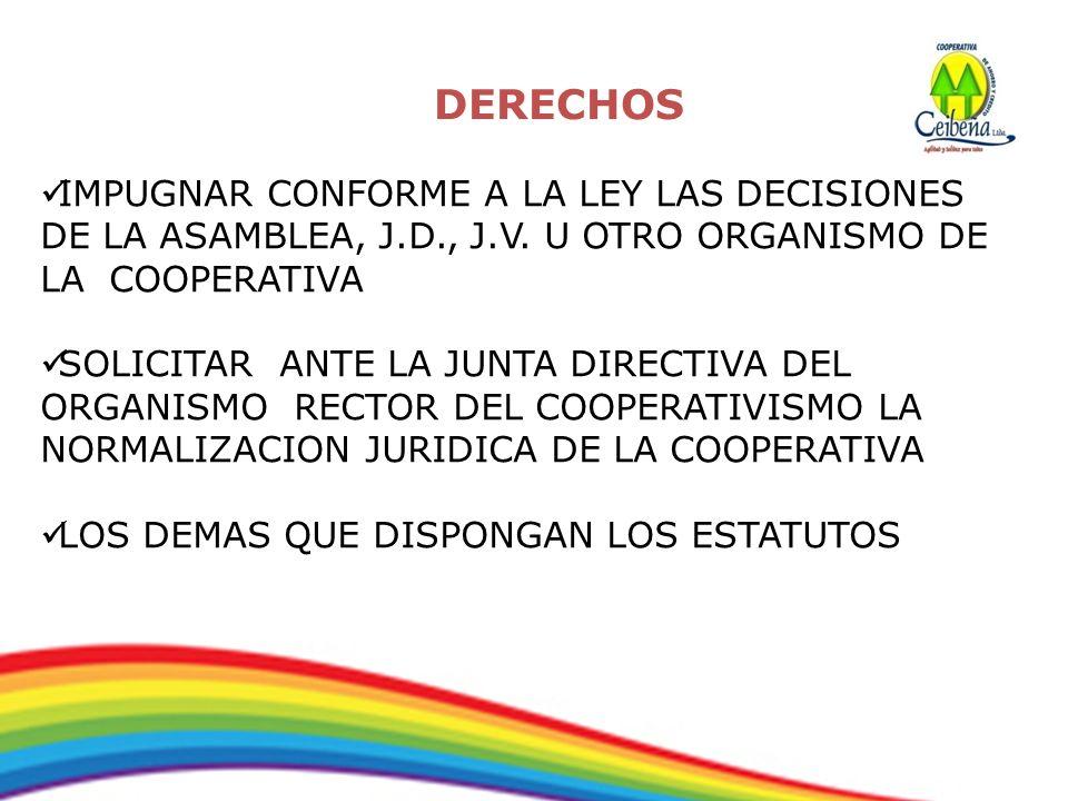 DERECHOS IMPUGNAR CONFORME A LA LEY LAS DECISIONES DE LA ASAMBLEA, J.D., J.V. U OTRO ORGANISMO DE LA COOPERATIVA.