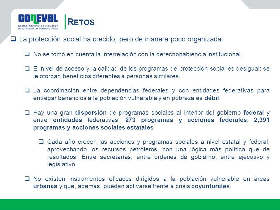 Retos La protección social ha crecido, pero de manera poco organizada: