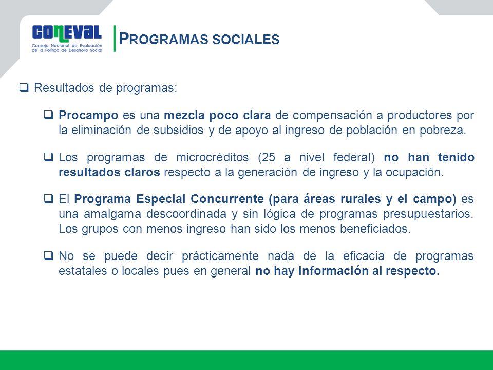 Programas sociales Resultados de programas:
